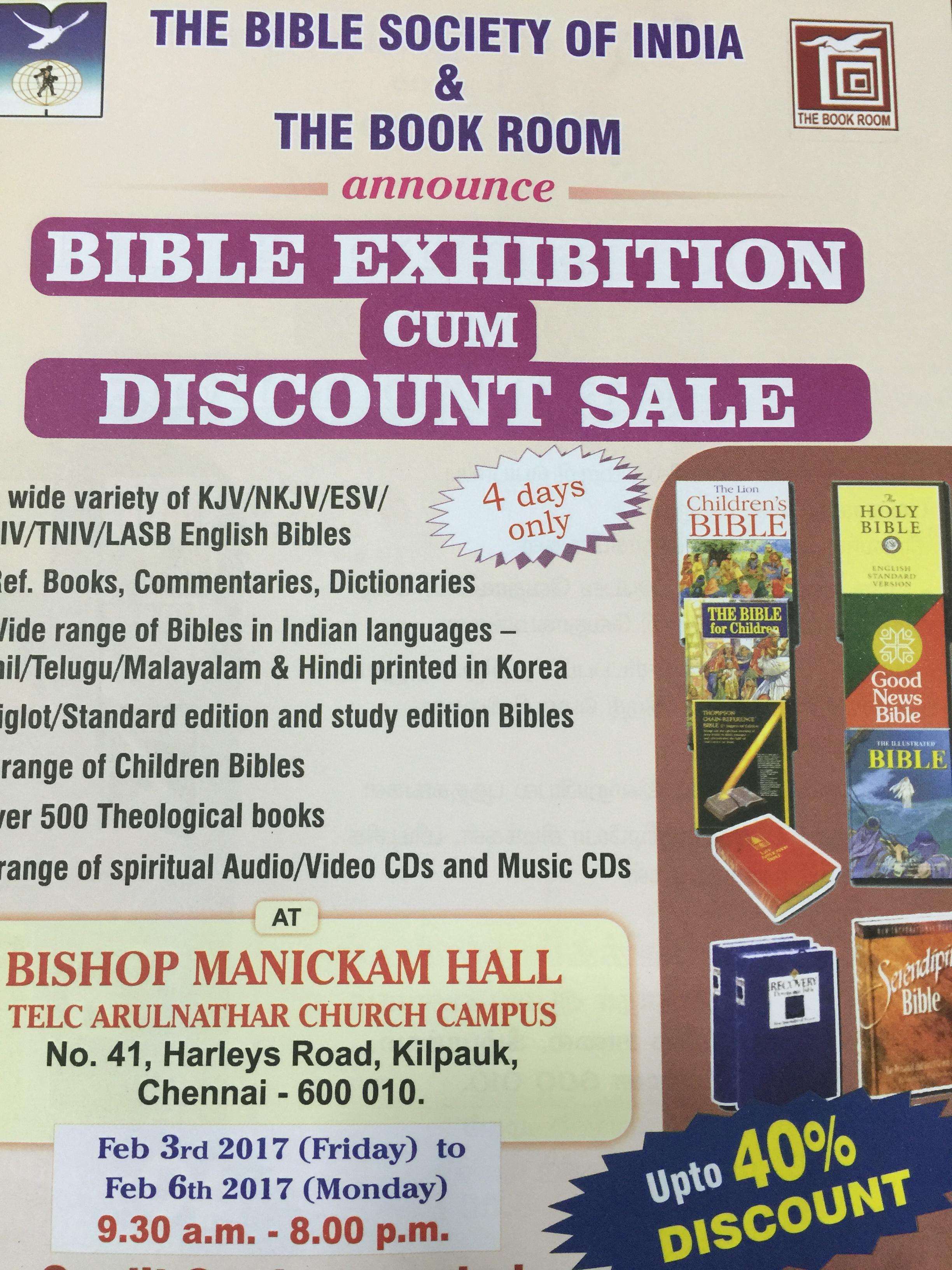 Chennai Bible Fair 2017 – The Bible Society of India